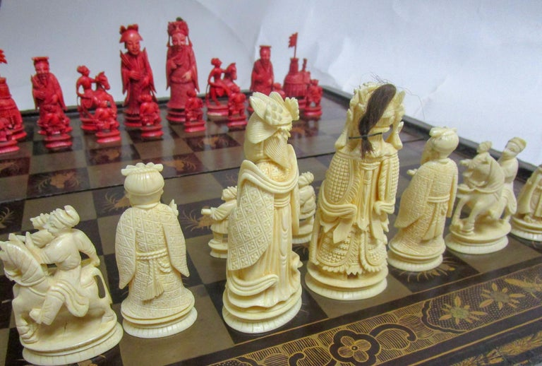 19th Century Chinese Lacquer Giltwood Board Chess Set For Sale 4
