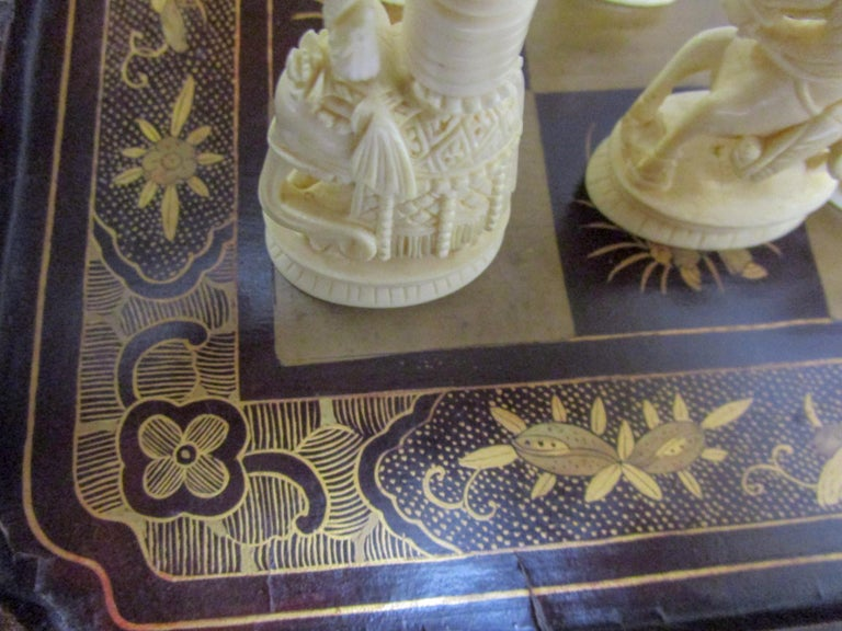 19th Century Chinese Lacquer Giltwood Board Chess Set For Sale 5