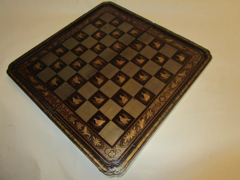 19th Century Chinese Lacquer Giltwood Board Chess Set For Sale 7