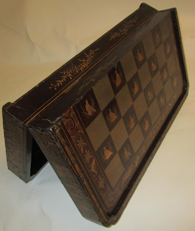 19th Century Chinese Lacquer Giltwood Board Chess Set For Sale 8