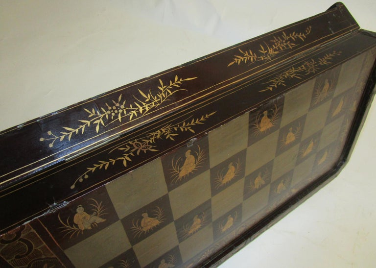 19th Century Chinese Lacquer Giltwood Board Chess Set For Sale 9