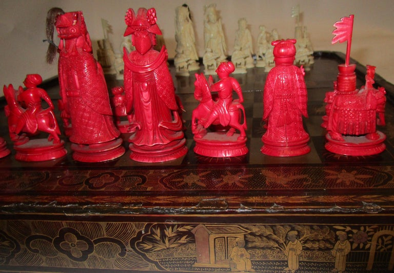 19th Century Chinese Lacquer Giltwood Board Chess Set For Sale 11