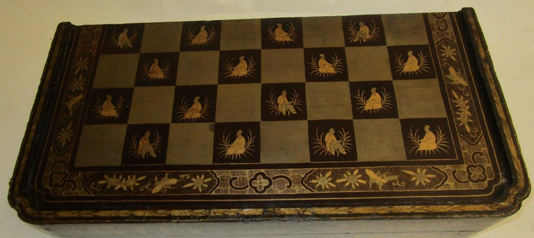 Carved 19th Century Chinese Lacquer Giltwood Board Chess Set For Sale