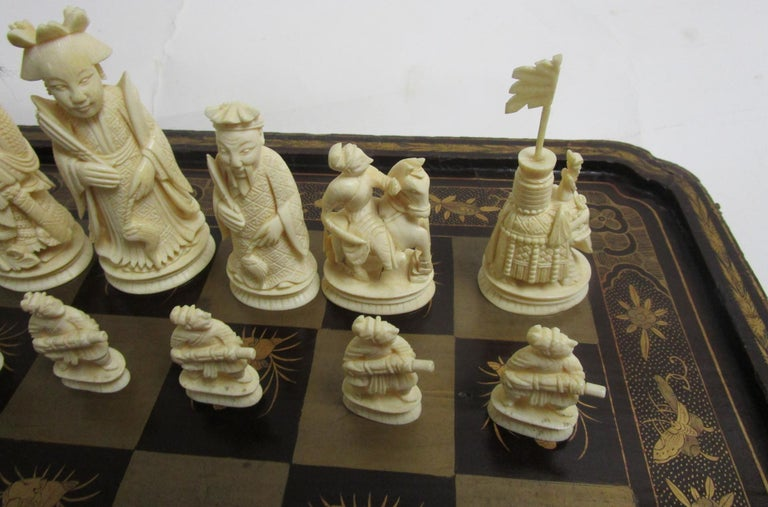 Late 19th Century 19th Century Chinese Lacquer Giltwood Board Chess Set For Sale