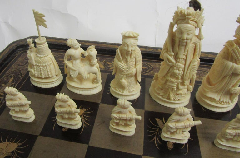 19th Century Chinese Lacquer Giltwood Board Chess Set For Sale 1