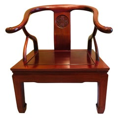 """19th Century Chinese Red Lacquer Bent Elm Chairs with """"Shou"""" Longevity Symbol"""