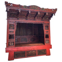 19th Century Chinese Red Lacquered Opium Canopy Bed