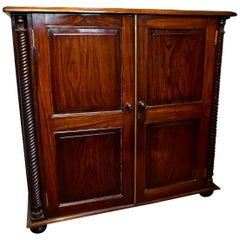 Colonial Rosewood Carved Hutch Linen Cabinet with Barley Twist Columns