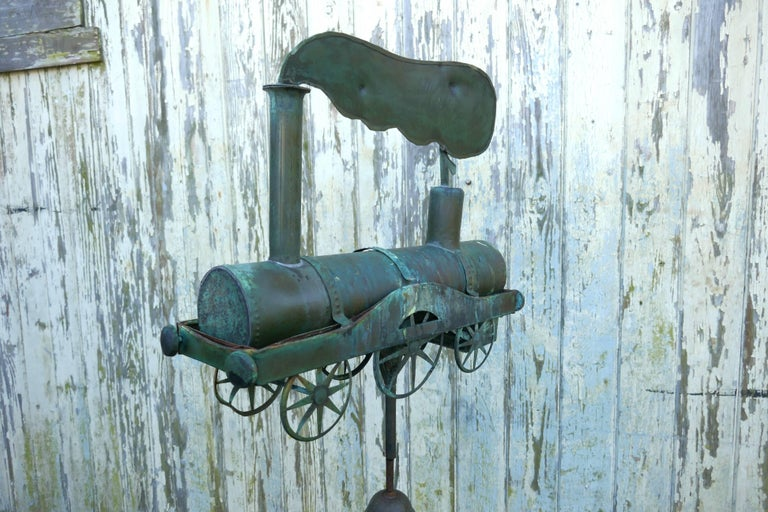 19th century Cornish copper Folk Art steam train, locomotive weathervane  The model steam train at the top of this Weathervane is hand made in Cornish copper, the Locomotive is quite detailed in its construction, it has a plume of smoke coming