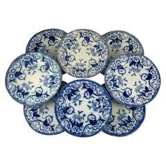 19th-C Creil et Montereau Faïence Blue & White 'Flora' Morning Glory Plates, S/8