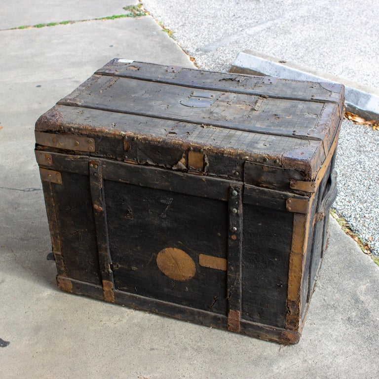 19th Century Distressed Black Canvas and Leather Trunk with Monogrammed Detail For Sale 5
