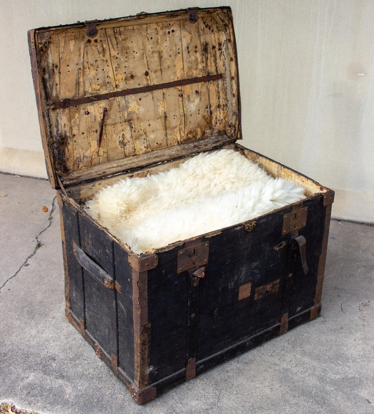 19th Century Distressed Black Canvas and Leather Trunk with Monogrammed Detail For Sale 6