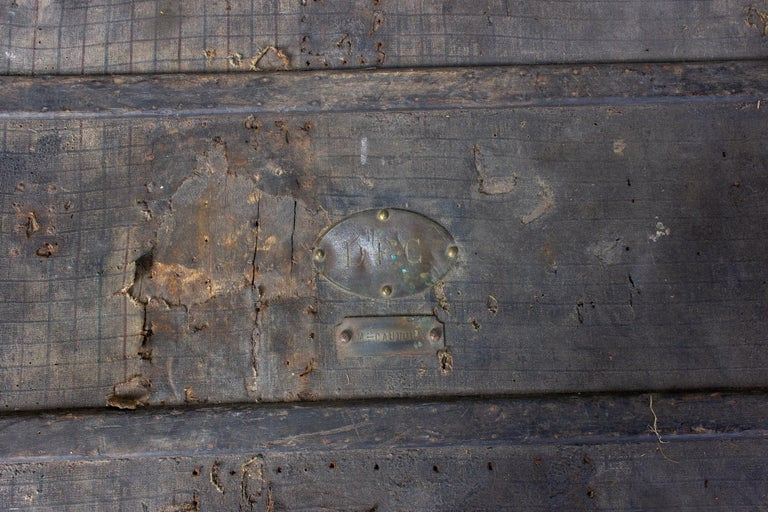 Victorian 19th Century Distressed Black Canvas and Leather Trunk with Monogrammed Detail For Sale