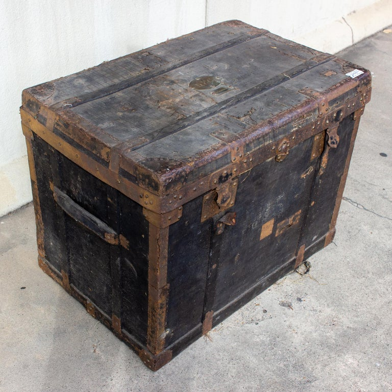 19th Century Distressed Black Canvas and Leather Trunk with Monogrammed Detail In Distressed Condition For Sale In Houston, TX