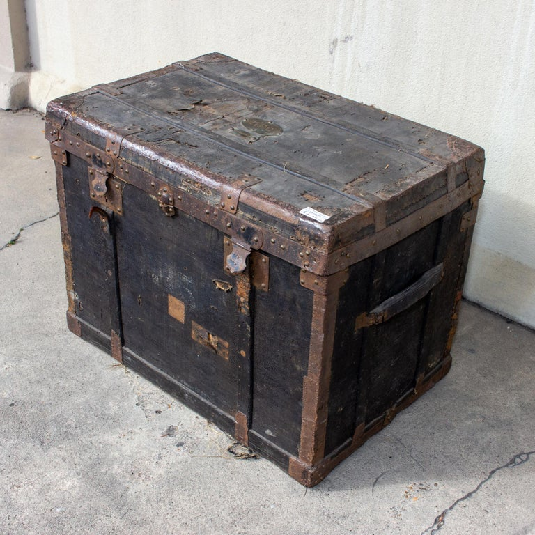 Mid-19th Century 19th Century Distressed Black Canvas and Leather Trunk with Monogrammed Detail For Sale