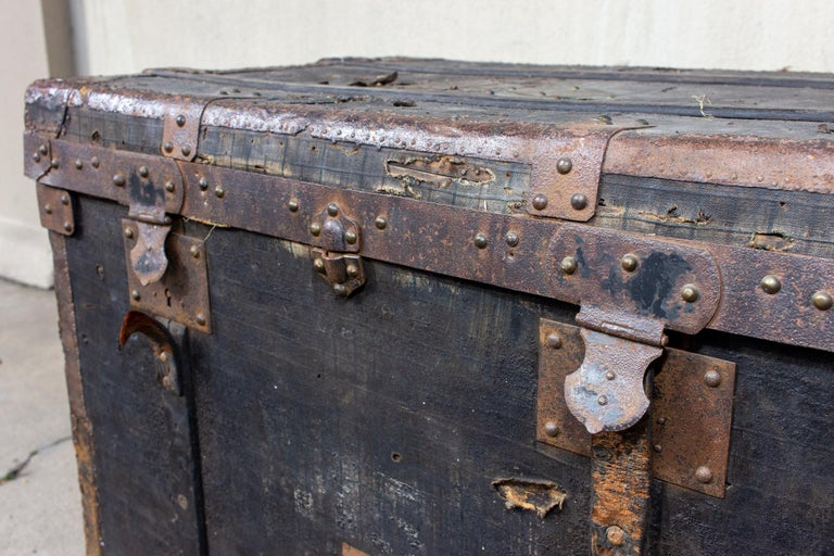 Metal 19th Century Distressed Black Canvas and Leather Trunk with Monogrammed Detail For Sale
