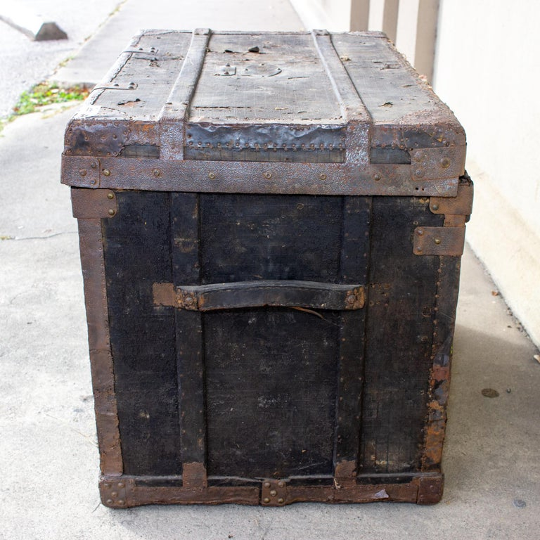 19th Century Distressed Black Canvas and Leather Trunk with Monogrammed Detail For Sale 1
