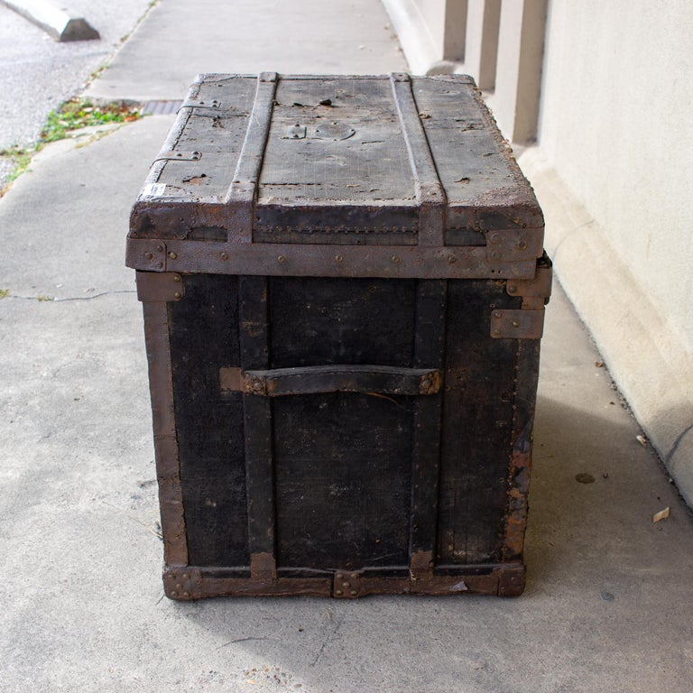 19th Century Distressed Black Canvas and Leather Trunk with Monogrammed Detail For Sale 2