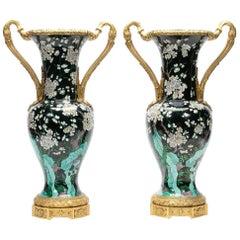19th Century Dore Bronze Mounted Famille Noir Vases