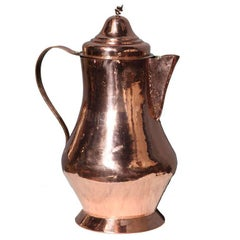 19th Century Dutch Overscale Coffee Pot of Polished Copper