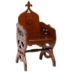 19th Century Ecclesiastical Gothic Revival Priests' Chair