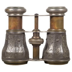 19th c. Embossed Pewter and Brass Opera Binoculars, c.1880s