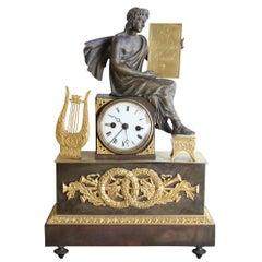 19th Century Empire Clock in Gilded Bronze