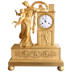"""19th Century Empire Clock """"Winged Love"""" with Lepaute Dial"""