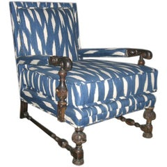 19th Century English Armchair Upholstered in Blue and White Ikat Fabric
