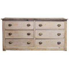19th C English Bleached Pine Butchers Counter Drawers