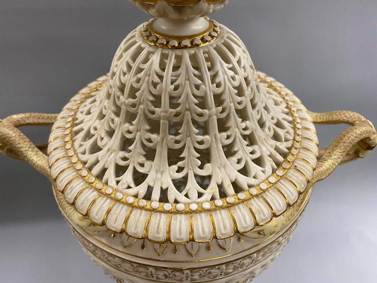 English Grainger Royal Worcester Gilt Ivory Porcelain Reticulated Urn For Sale 6