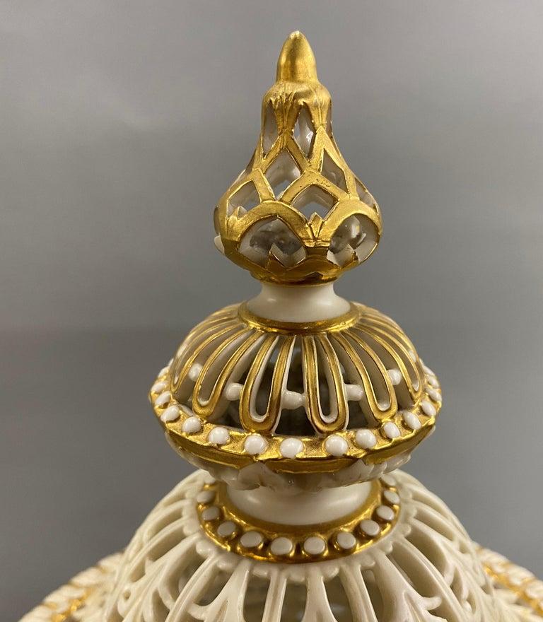 English Grainger Royal Worcester Gilt Ivory Porcelain Reticulated Urn For Sale 7