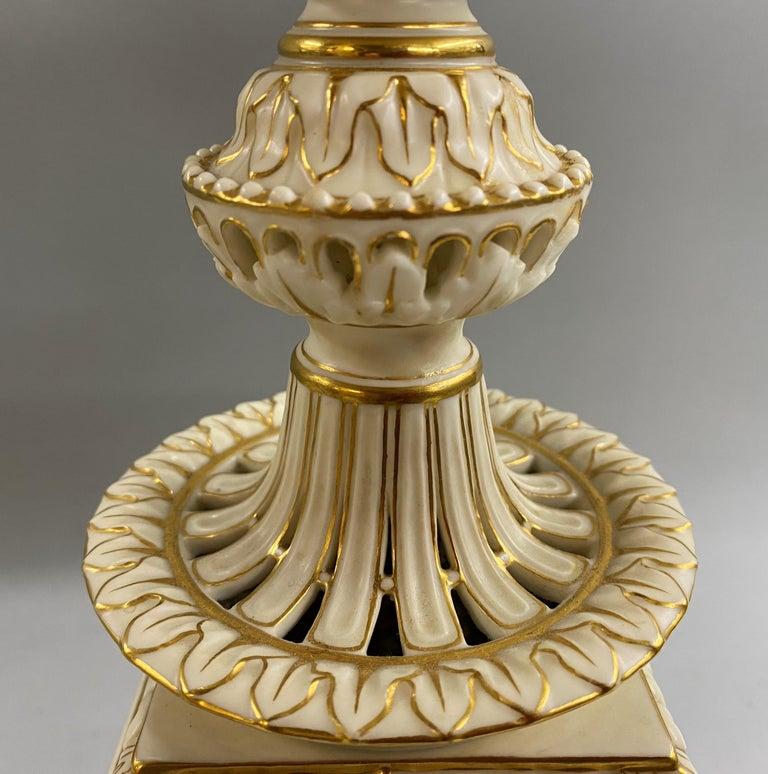English Grainger Royal Worcester Gilt Ivory Porcelain Reticulated Urn For Sale 8