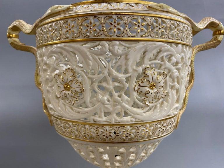English Grainger Royal Worcester Gilt Ivory Porcelain Reticulated Urn For Sale 9