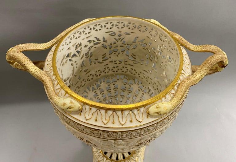 English Grainger Royal Worcester Gilt Ivory Porcelain Reticulated Urn For Sale 10