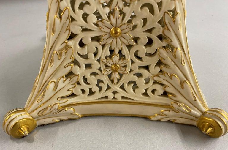 English Grainger Royal Worcester Gilt Ivory Porcelain Reticulated Urn For Sale 11