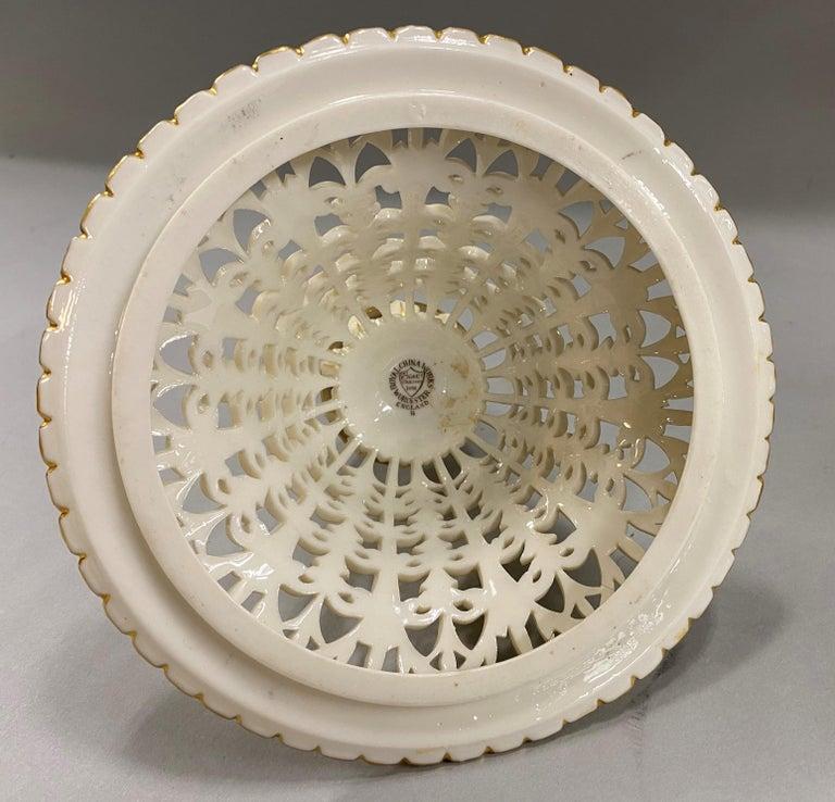 English Grainger Royal Worcester Gilt Ivory Porcelain Reticulated Urn For Sale 12