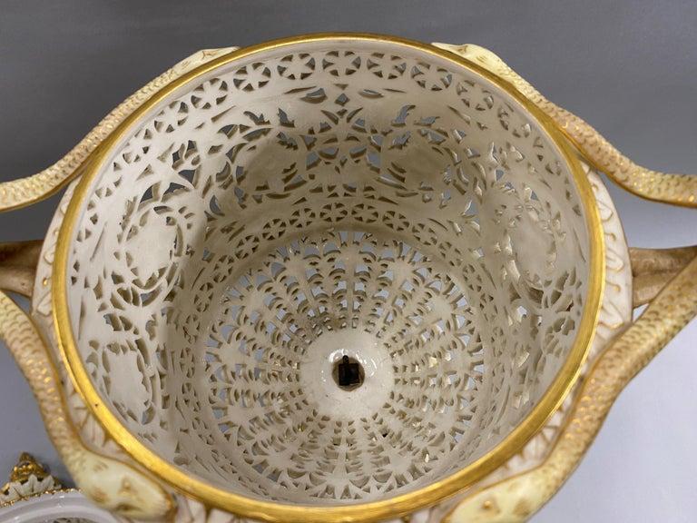 English Grainger Royal Worcester Gilt Ivory Porcelain Reticulated Urn For Sale 14
