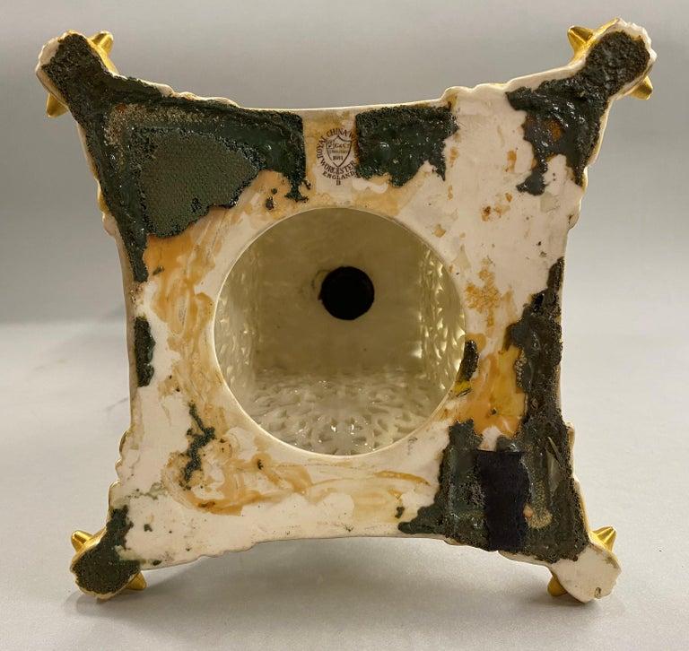 English Grainger Royal Worcester Gilt Ivory Porcelain Reticulated Urn For Sale 15