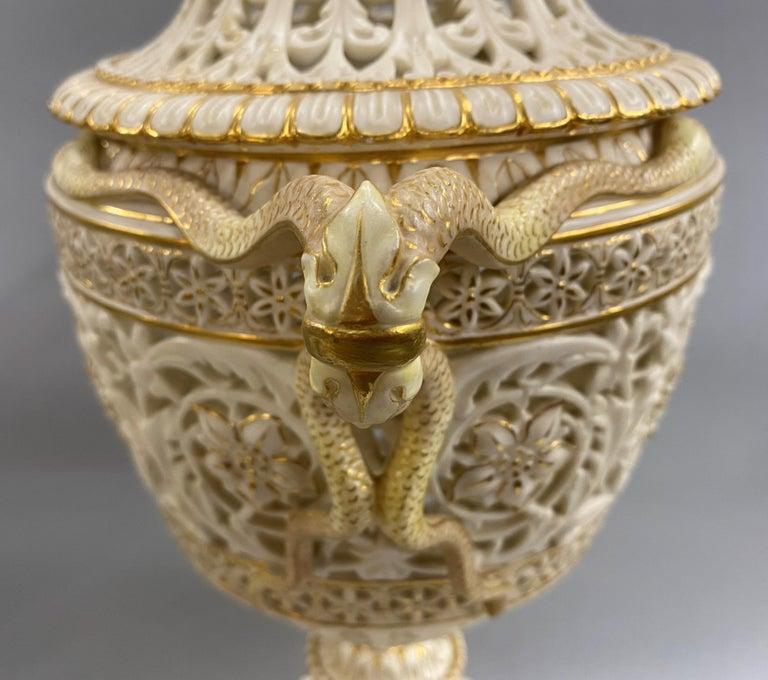 English Grainger Royal Worcester Gilt Ivory Porcelain Reticulated Urn For Sale 3