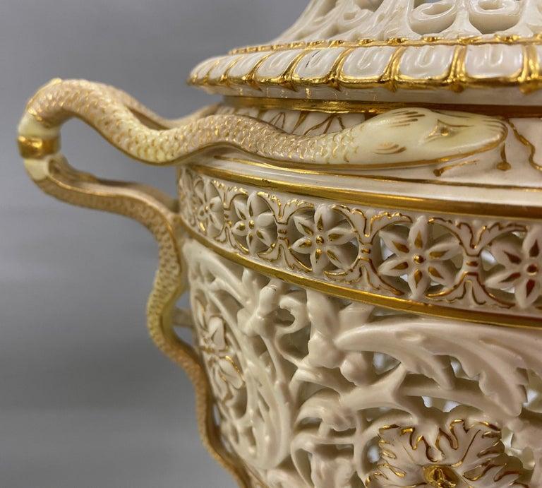 English Grainger Royal Worcester Gilt Ivory Porcelain Reticulated Urn For Sale 4