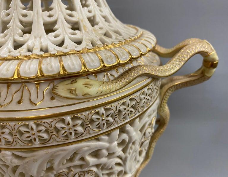 English Grainger Royal Worcester Gilt Ivory Porcelain Reticulated Urn For Sale 5