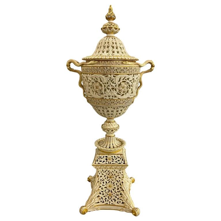English Grainger Royal Worcester Gilt Ivory Porcelain Reticulated Urn For Sale