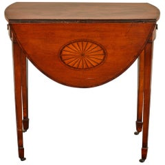 English Mahogany George III Pembroke Table W/Inlaid Fan & Sunburst W/Dra