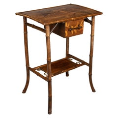 19th Century English Marquetry Bamboo Table