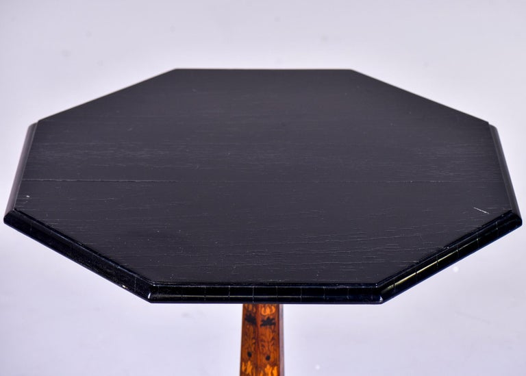 19th Century English Marquetry Side Table with Black Lacquer Top 6