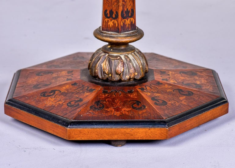 Wood 19th Century English Marquetry Side Table with Black Lacquer Top