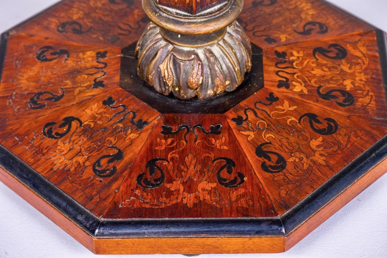 19th Century English Marquetry Side Table with Black Lacquer Top 5