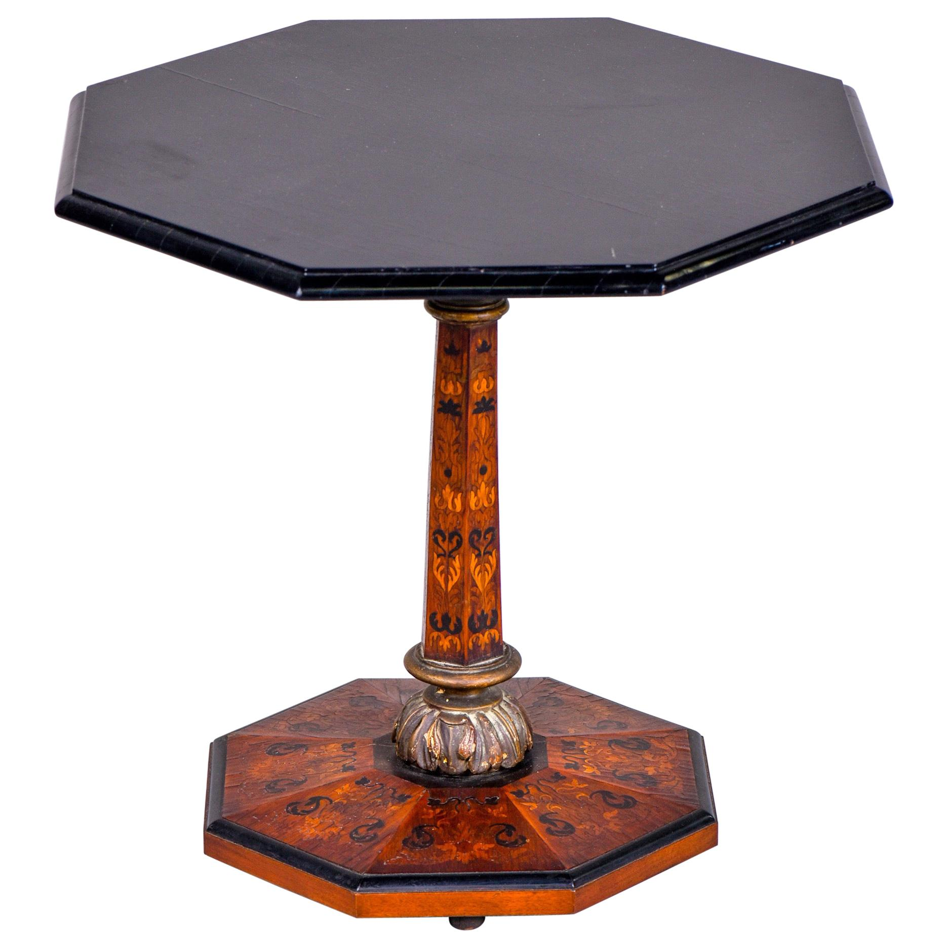 19th Century English Marquetry Side Table with Black Lacquer Top