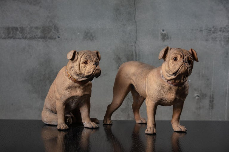 England pair of terra cotta bulldogs, 19th century. Dimension shown for the larger of the two.